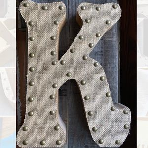 Decorative wood and burlap letter K